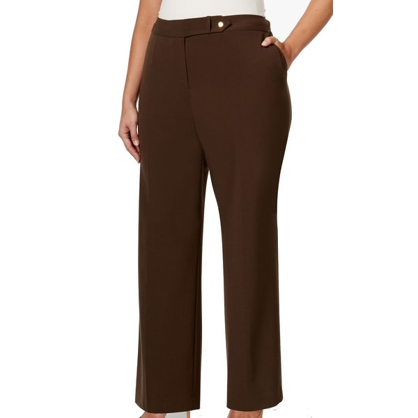 c710b09d9 Shop Calvin Klein NEW Brown Womens Size 20W Plus Lux Trousers Dress Pants -  Free Shipping On Orders Over $45 - Overstock - 19497743