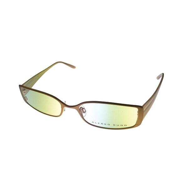 Alfred Sung Opthalmic Womens Eyeglass Modified Rectangle 4710 Cream Gold Metal - Medium