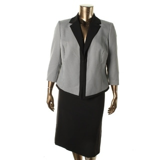 Tahari ASL Womens Plus Stanley Houndstooth 2PC Skirt Suit - 18W