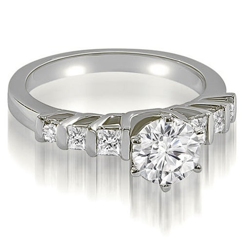 1.00 cttw. 14K White Gold Round and Princess cut Diamond Engagement Ring