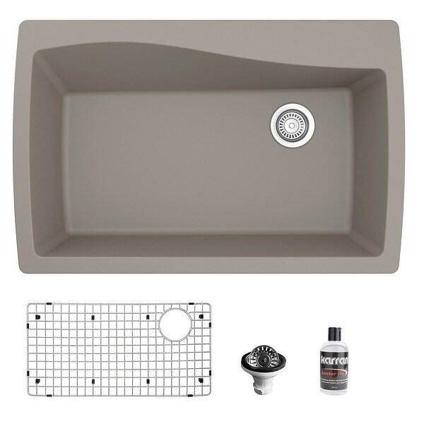 Karran Drop-In Quartz Composite 34 in Single Bowl Kitchen Sink with Accessories. Opens flyout.