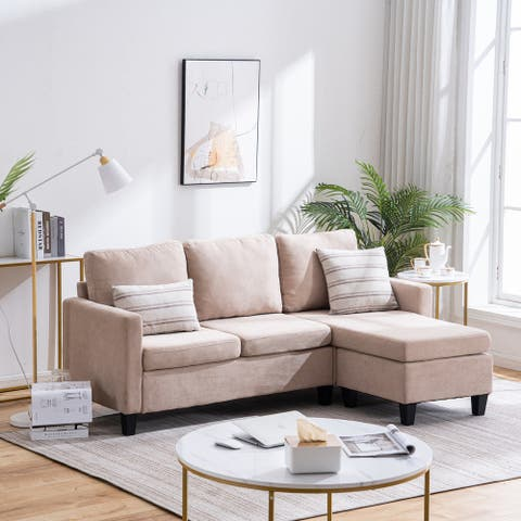 Reversible Sectional Sofa Couch L Shape 3-seat Sofa Couch for Small Apartment