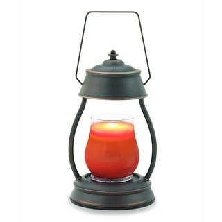 """13"""" Decorative Black and Brown Oil Rubbed Bronze Hurricane Candle Warmer Lantern - N/A"""