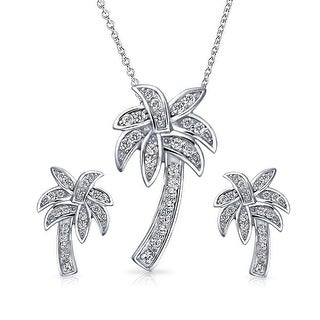 Bling Jewelry Sterling Silver Pave CZ Palm Tree Pendant and Earrings Set