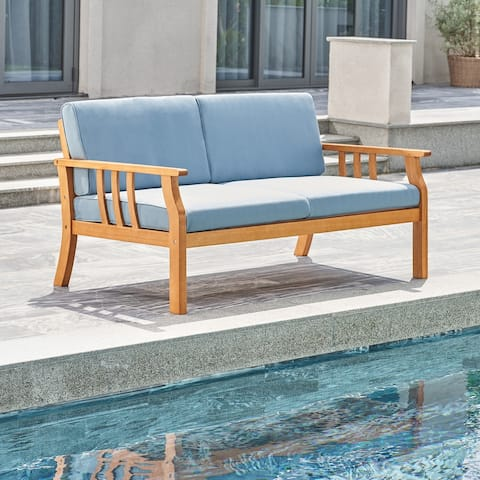 Kapalua Honey Nautical Wooden Outdoor Sofa Bench with Cushion
