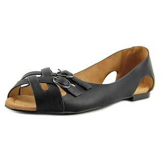 GC Shoes Maxi Women Open-Toe Synthetic Black Flats