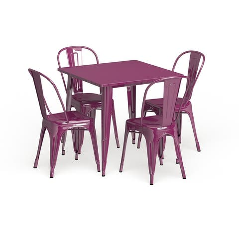 """31.5"""" Square Metal Indoor-Outdoor Table Set with 4 Stack Chairs"""