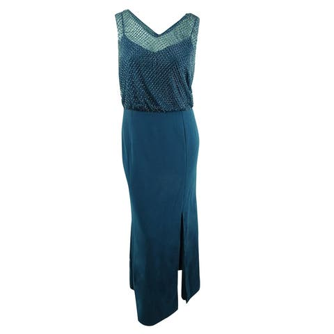 Adrianna Papell Women's Plus-Size Sleeveless Beaded Gown - Teal Crush - 20W