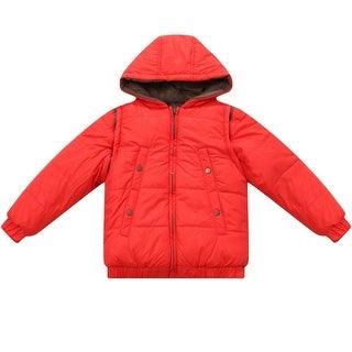 Richie House Baby Boys Orange Hooded Removable Sleeves Padded Jacket 12M