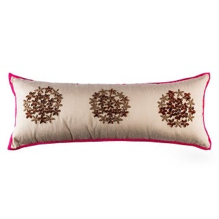 100% Handmade Imported Star Flower of Egypt Pillow Cover, Shades of Brown and Pink on Grey, Hot Pink Trim