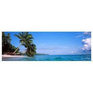 """""""Palm trees on the beach, Indonesia"""" Poster Print"""