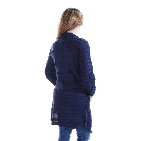 Lauren Ralph Lauren Women's Cable Knit Open Front Cardigan Sweater, Blue, Size L - pl