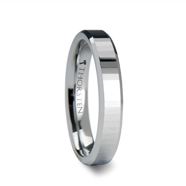 THORSTEN - TEREZZA Beveled Tungsten Carbide Wedding Ring with Narrow Rectangular Facets - 4mm