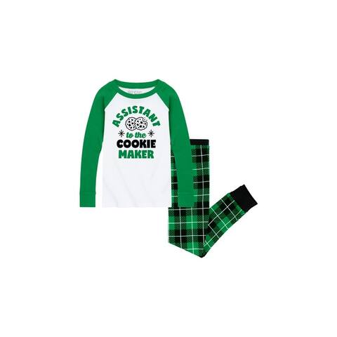 Cookie Maker Assistant -Toddler Pajama Set - White/Green Buffalo Plaid - Green