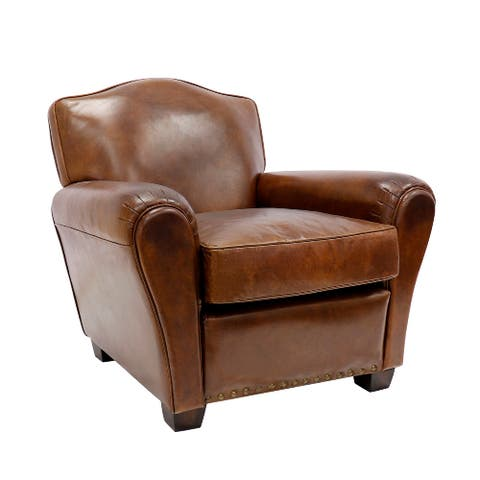 """Pasargad Home Palermo Collection Leather Wing Chair, Brown - W32.6""""xD33.8""""xH32.28"""""""
