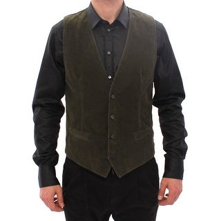 Dolce & Gabbana Green Corduroys Single Breasted Vest - it48-m