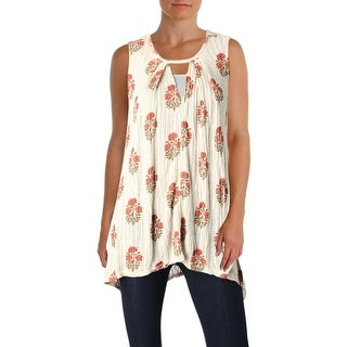 Lucky Brand Womens Tunic Top Casual Keyhole