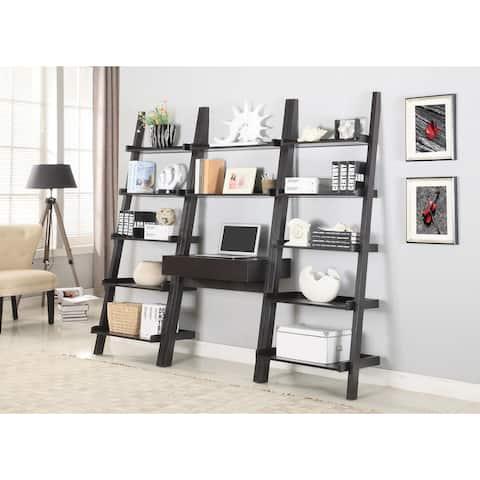 Sheridan Cappuccino 3-piece Ladder Desk/Bookcase Set