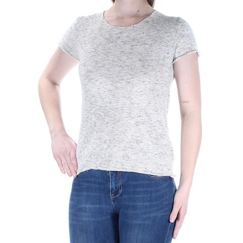 MAX STUDIO Womens Beige Short Sleeve Jewel Neck Sweater Size M