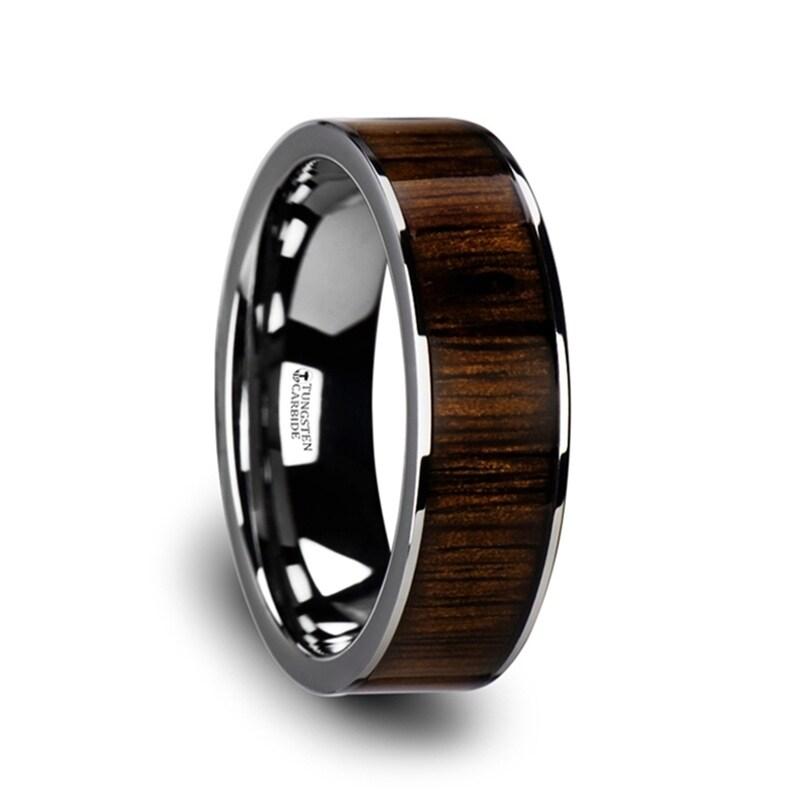 Thorsten YUKON Black Ceramic Ring Black Walnut Wood Inlay Beveled Edge 12mm Band