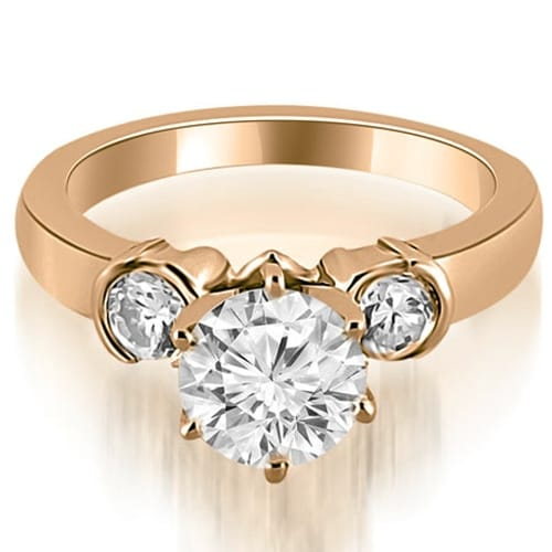1.00 cttw. 14K Rose Gold Half Bezel Round Cut Diamond Engagement Ring