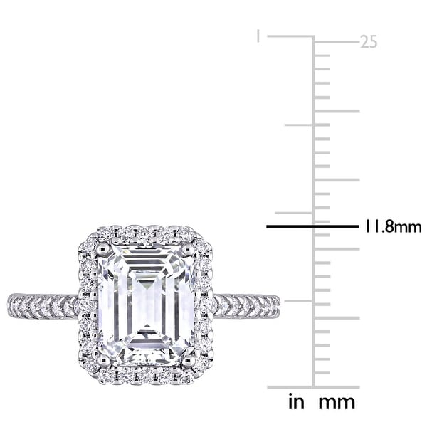 Miadora 2 7/8ct DEW Emerald-cut Moissanite Halo Engagement Ring in 10k White Gold