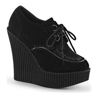 Demonia Women's Creeper 302 Wedge Oxford Black Vegan Suede