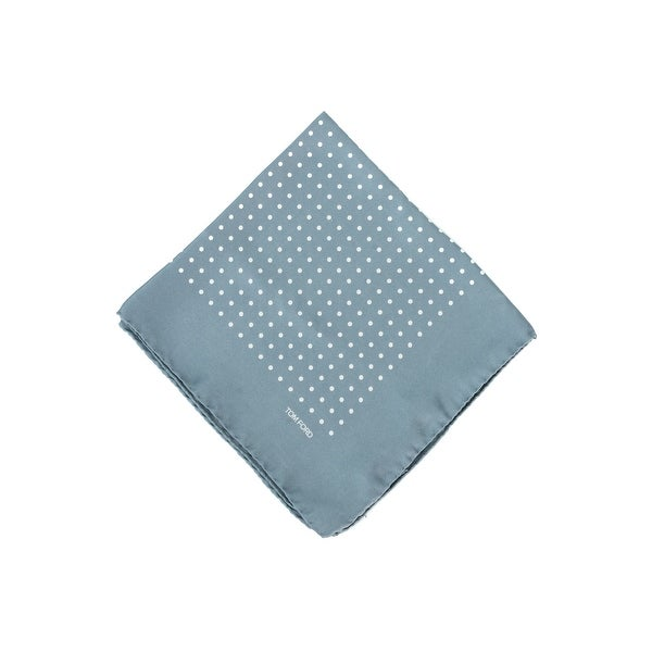 Tom Ford Men's Grey Teal Polka Dot Silk Pocket Square