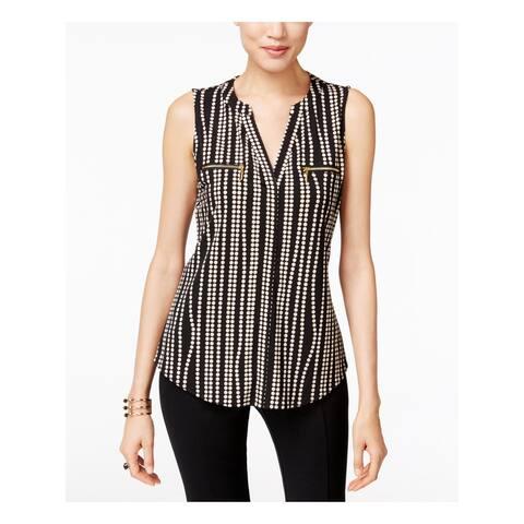 INC Womens Black Polka Dot Sleeveless V Neck Top Size XL