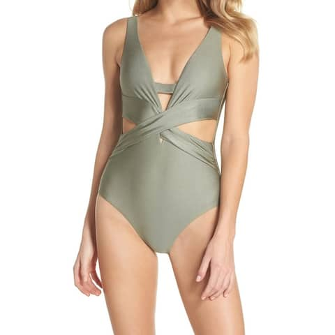 Becca Deep Green Womens Size Large L One-Piece Plunged Swimwear