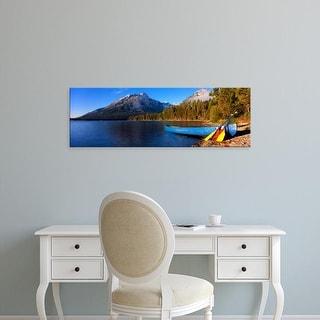 Easy Art Prints Panoramic Images's 'Canoe, Leigh Lake, Teton Range, Grand Teton National Park, Wyoming' Canvas Art