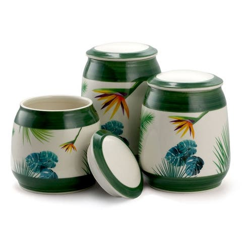 Elama Birds of Paradise 3 Piece Ceramic Kitchen Canister Set in Green