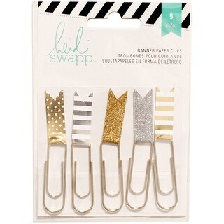 Heidi Swapp Paper Clips Flag Gold & Silver 5 Piece