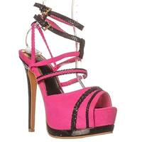 Scene Chinelle Ankle Strap Sandals - Fuchsia/black - 8.5
