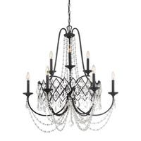"""Designers Fountain 90389 Ravina 9 Light 32"""" Wide Single Tier Candle Style Chandelier with Crystal Accents"""