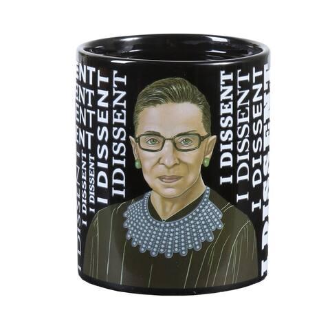 RBG Coffee Mug - Ruth Bader Ginsberg Heat-Change Mug, I Dissent Appears with Hot Liquid - Black - 3.75 Inch