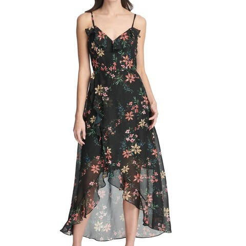 Kensie Womens Maxi Dress Black Size 16 Ruffle Tulip Hem High Low Floral
