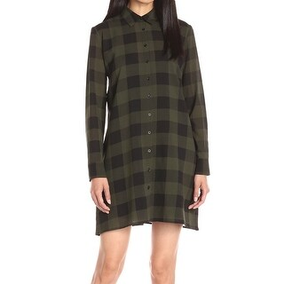 BB Dakota NEW Green Women's XS Holly-Anne Buffalo Plaid Shirt Dress