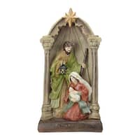 """14.5"""" Holy Family and Angel Figures Christmas Nativity Statue Decor - Brown"""