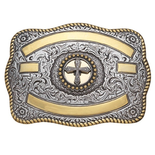 Crumrine Western Belt Buckle Rectangle Cross Rope Gold Silver - 3 1/4 x 4 1/4