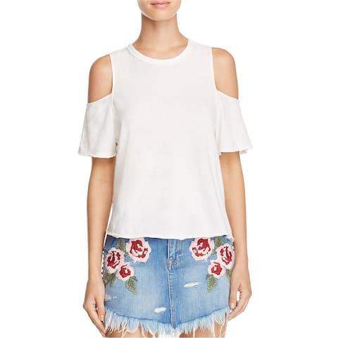 Free People Womens Taurus Cold Shoulders Basic T-Shirt
