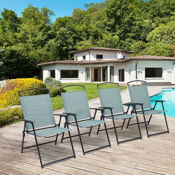 Pellebant 4PCS Outdoor Modern Patio Dining Folding Chairs - N/A. Opens flyout.