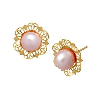 Freshwater Pink Pearl Stud Earrings in 14K Gold
