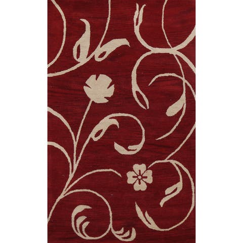 """Red Floral Contemporary Oriental Area Rug Hand-tufted Wool Carpet - 5'0"""" x 8'0"""""""