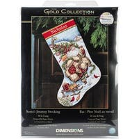 "Gold Collection Santa's Journey Stocking Counted Cross Stitc-16"" Long 18 Count"