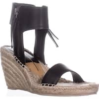 Dolce Vita Gisele Wedge Espadrille Ankle Strap Sandals, Black Leather - 9 us
