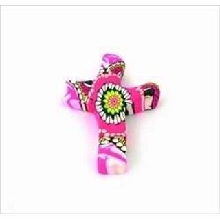 Calypso Studios 106218 Pocket Cross Comforting Clay Pink Flower 3 In.