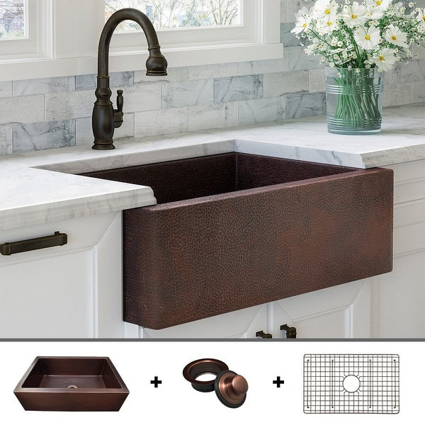 Heavy 12-GAUGE Luxury 33 inch Dark Copper (52 POUNDS) Farmhouse Sink, Flat Front, includes Grid and Flange, by Fossil Blu. Opens flyout.
