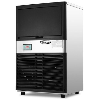 Costway Commercial Ice Maker Automatic Stainless Steel 100lbs/24h Freestanding Portable - as pic