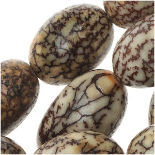 Natural Betel Nut Round Beads - 10x15mm 16 Inch Strand